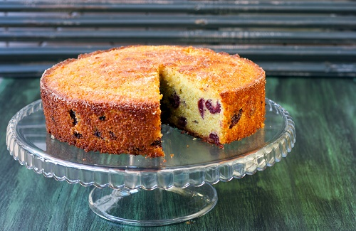 Blueberries on polenta pound cake