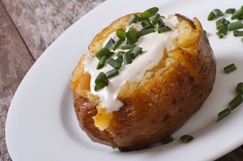 Grilled baked potato