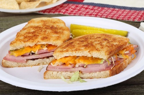 Grilled ham cheese and pickle
