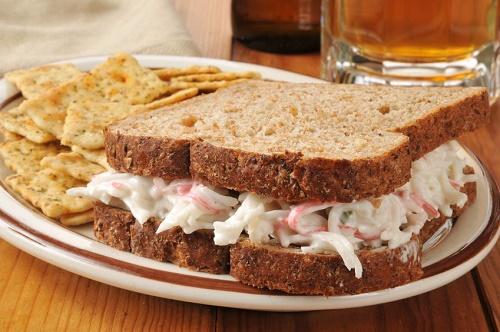 Pressed crab salad sandwich