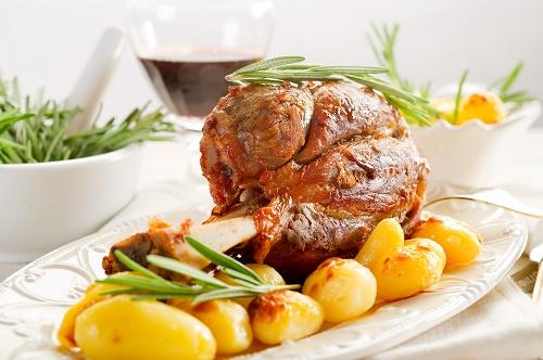 Slow roasted lamb shank