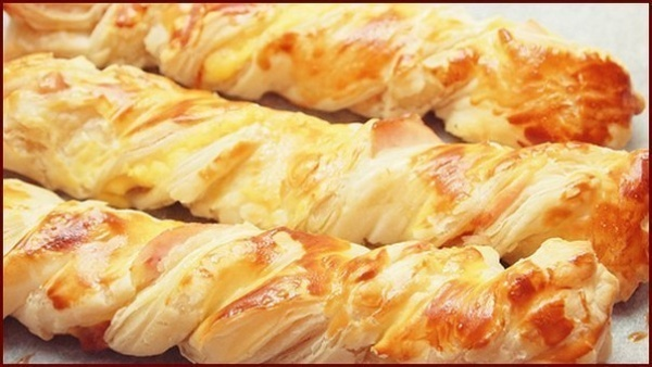 Chicken and Cheese Puff Pastry Braids