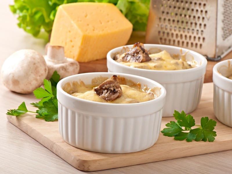 Mushroom Julienne with Double Cheese Crust