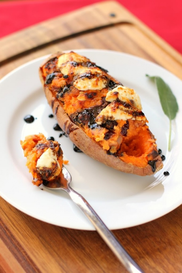 Twice Baked Cranberry and Pancetta Sweet Potato with Balsamic Glaze