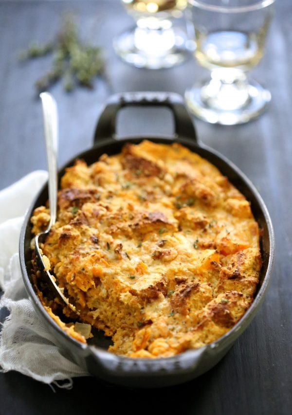 pumpkin butternut squash and gorgonzola bread pudding
