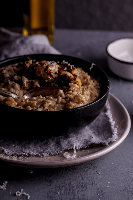 roasted cauliflower risotto with truffle oil