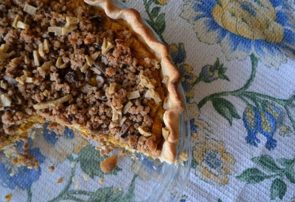 savory vegan pumpkin pie with shitake mushroom streusel