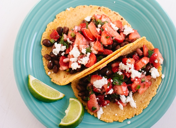 Strawberry Salsa and Black Bean Tacos