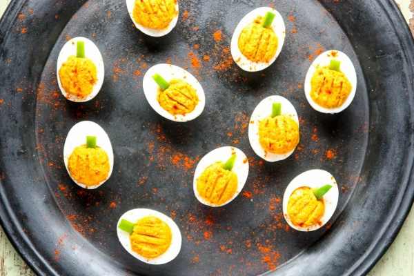 Pumpkin Halloween Deviled Eggs