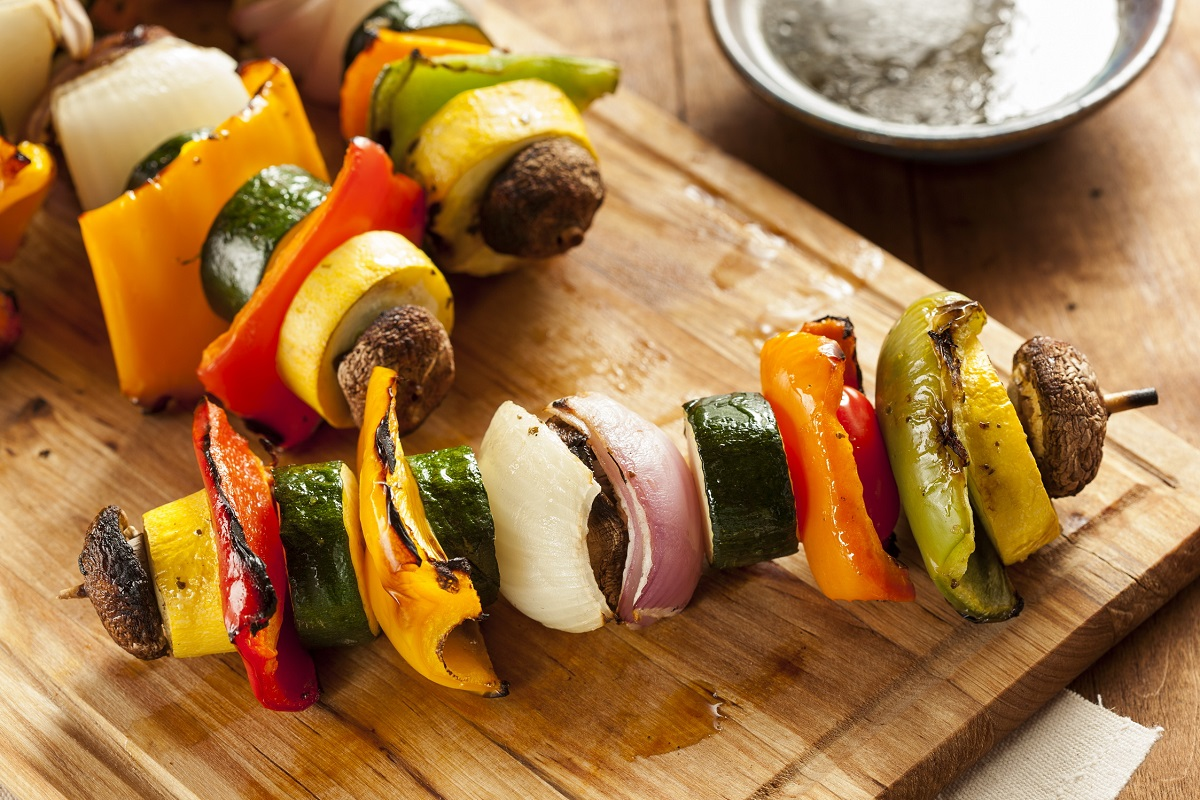 Grilled salad on a stick