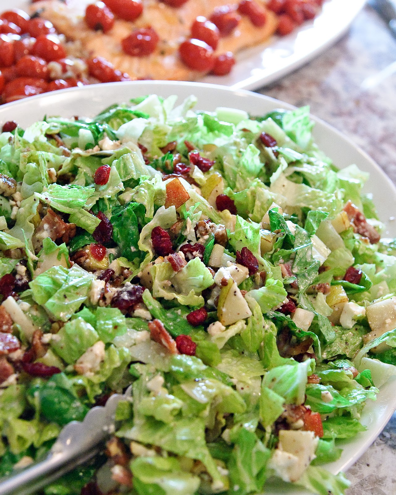 Autumn Chopped Salad With Pears, Cranberries, Pecans, Bacon, And Feta