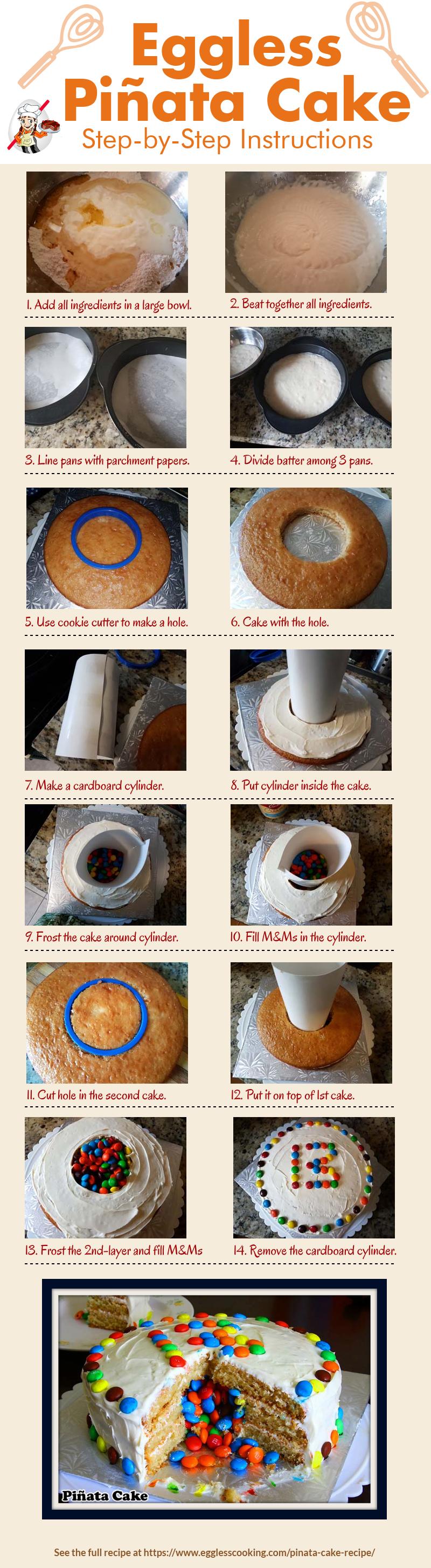 Eggless Piñata Cake