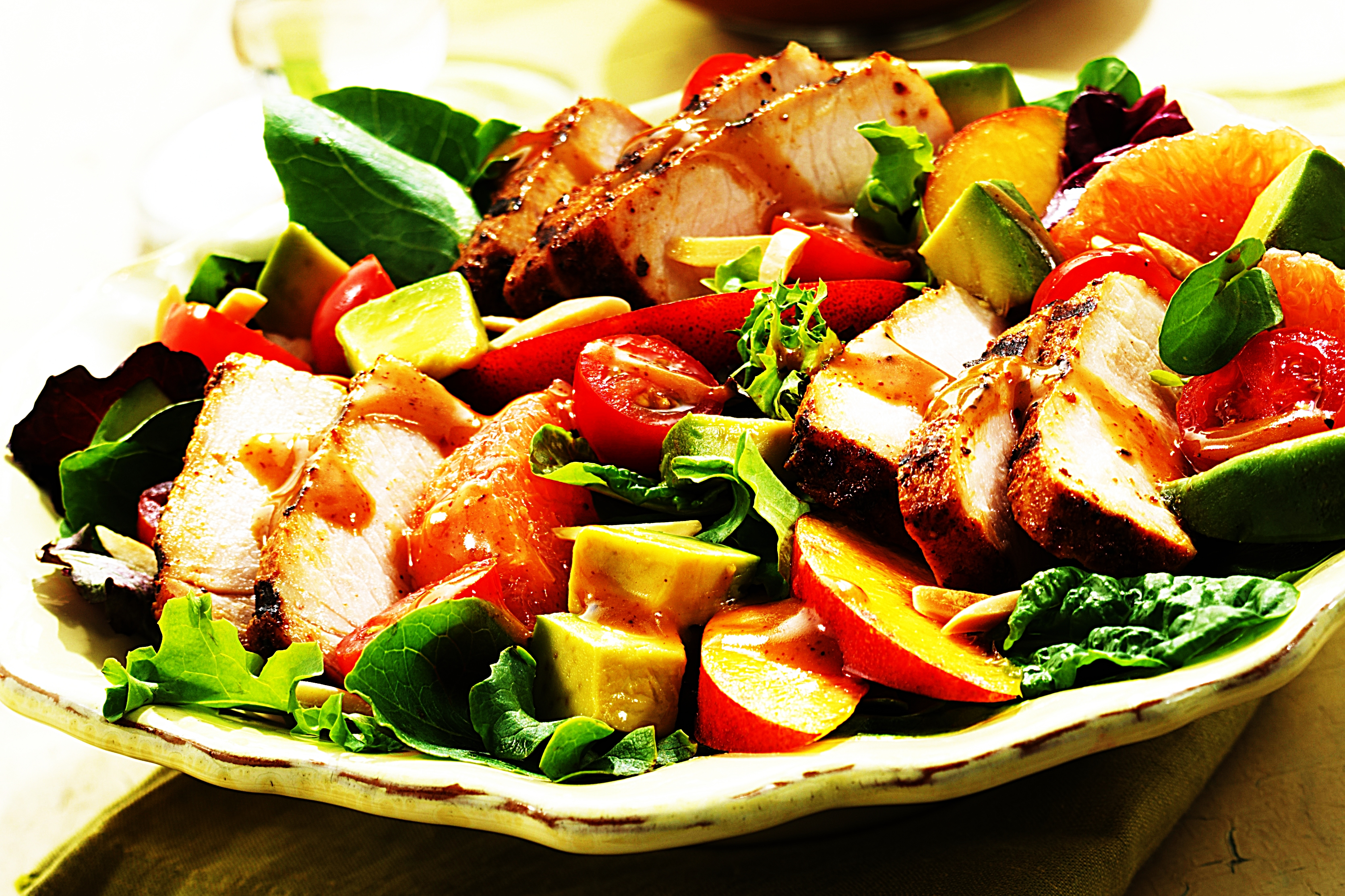 Stupid-Easy Recipe for BBQ Pork Salad with Summer Fruits & Honey Balsamic Vinaigrette (#1 Top-Rated)