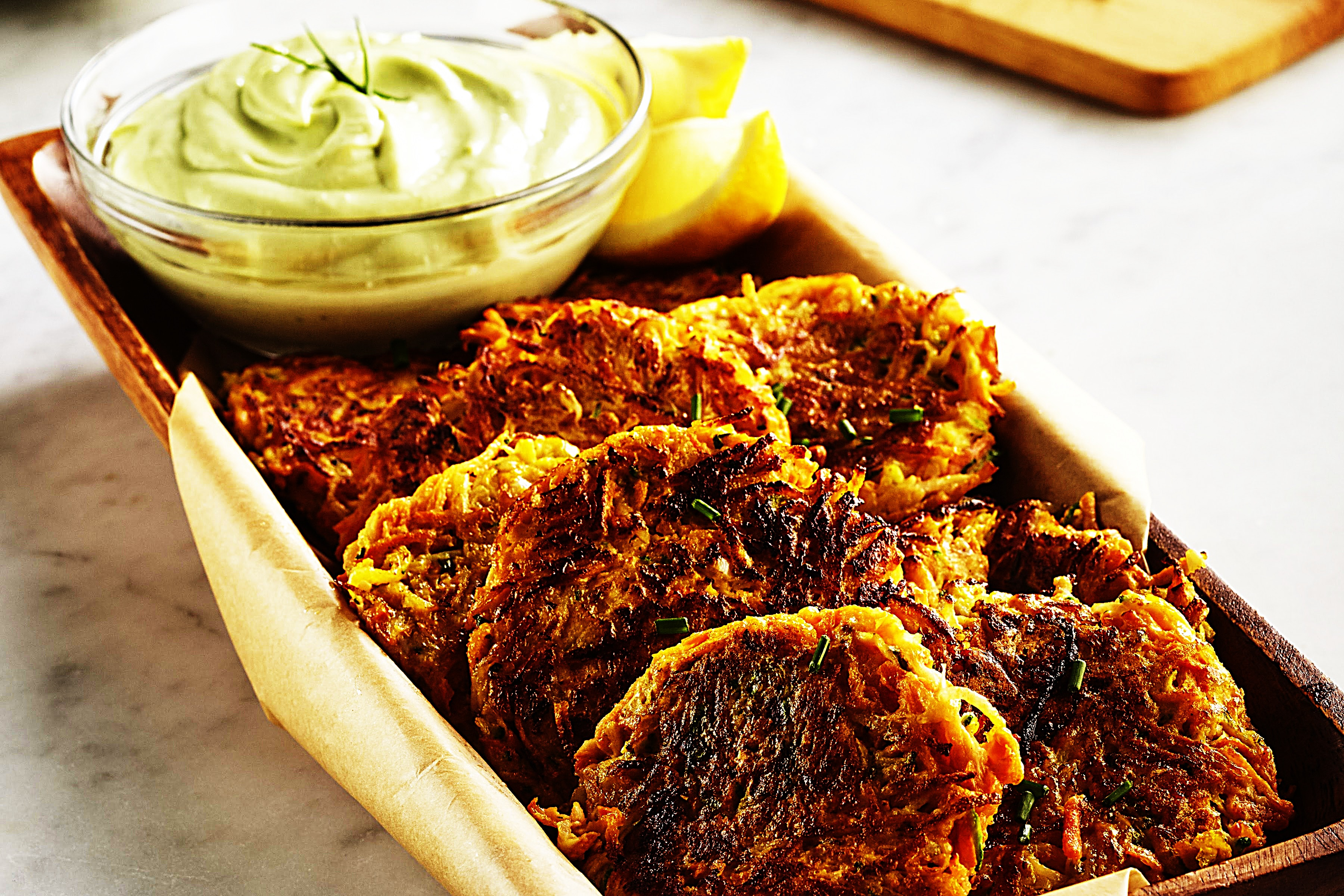 Stupid-Easy Recipe for Vegetable Fritters with Avocado Blue Cheese Dip (#1 Top-Rated)