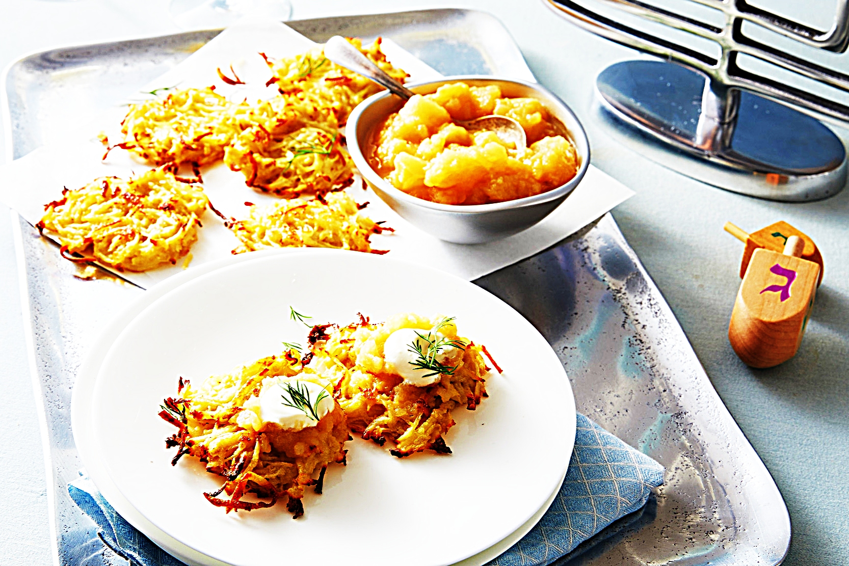 Stupid-Easy Recipe for Oven-Fried Potato Latkes with Applesauce (#1 Top-Rated)